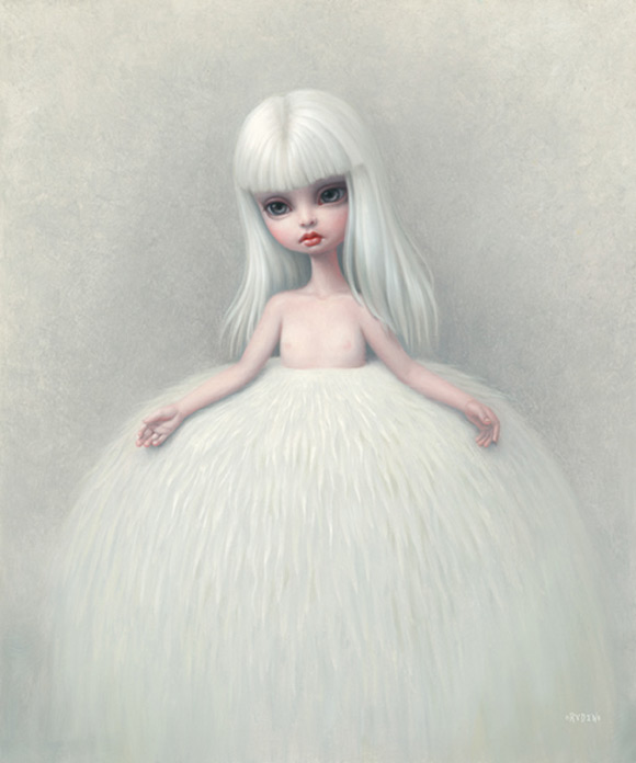 mark-ryden_the-snow-yak-show_girl-in-a-fur-skirt_white_kawaii