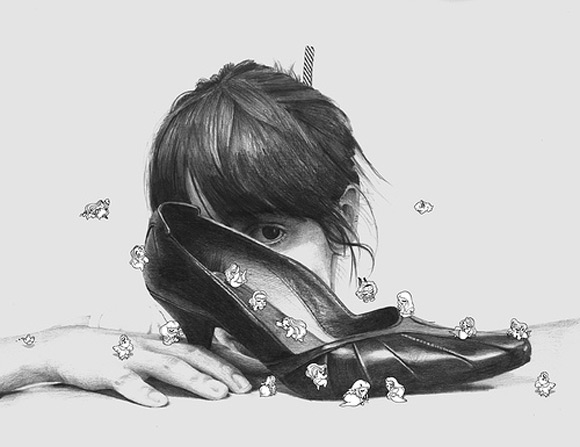 kawaii - hi! - Maria Vittoria Benatti - cute - sedere - bottom - pin-up - girl - illustration - illustrazione - pupette - self portrait - behind the shoe - shoe - scarpa