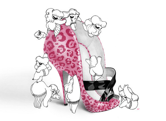 kawaii - hi! - Maria Vittoria Benatti - shoe - fetish - cute - sedere - gambe - bottom - legs - pin-up - girl - illustration - illustrazione - pupette - chubbychoo - chubby choo - jimmy choo - leopard