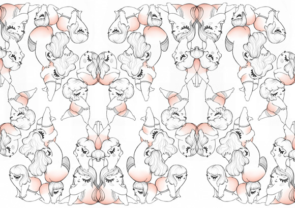 kawaii - hi! - Maria Vittoria Benatti - fetish - cute - sedere - gambe - bottom - legs - pin-up - girl - illustration - illustrazione - pupette - texture - pattern