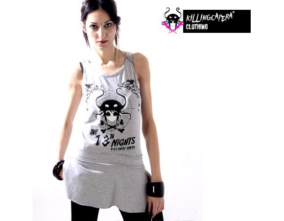 killing capera - francesco balzano - kawaii - gothic - emo - dark - t-shirt - street - octopus - piovra - polipo - girl - ragazza - grey - grigio