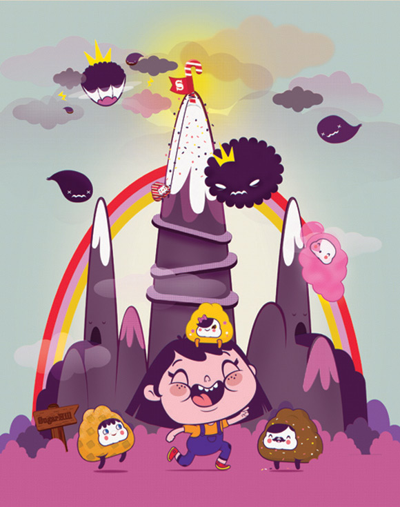 Bubu - Tummies Friends - illustration - kawaii - cute - candy - cake - violet - world - cecy meade