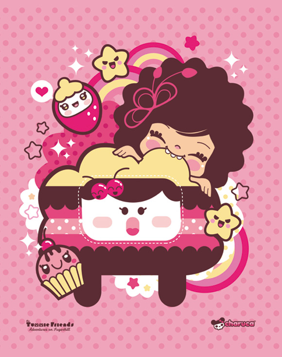 Bubu - Tummies Friends - illustration - kawaii - candy - cake - charuca - pink - cute - You are so sweet I can't stop biting you
