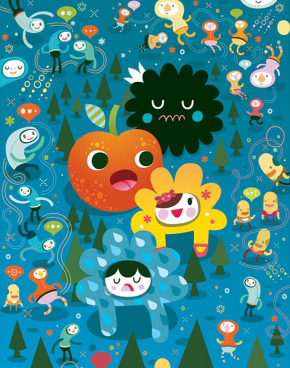 Bubu - Tummies Friends - illustration - kawaii - cute - colors - juliana - colorblock - Community Committee Meeting