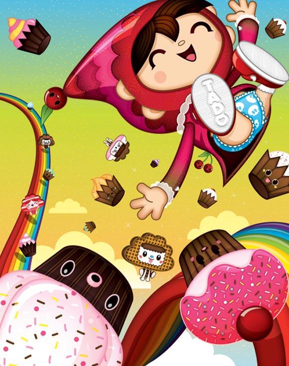 Bubu - Tummies Friends - illustration - kawaii - candy - cake - rainbow - tado - happy - cute - Cakee-Woosh