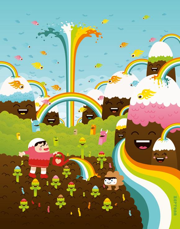 Bubu - Tummies Friends - illustration - kawaii - cute - zeptonn - smile - hill - rainbow - Harvest Day is Coming Soon