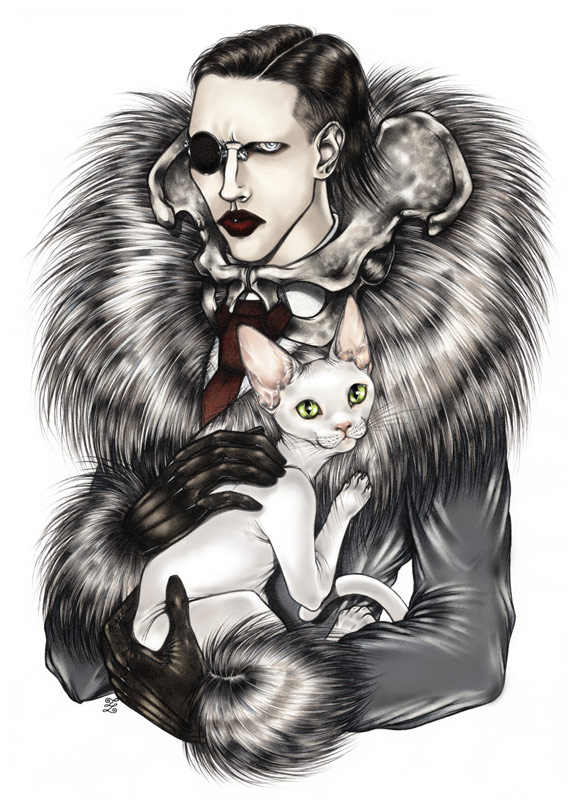 Zoe Lacchei -  Marilyn Manson - Golden Age of the Grotesque - Portrait with Cat