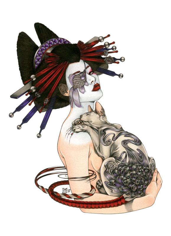 Zoe Lacchei - Geisha Project - Geisha with Tattooed Cat