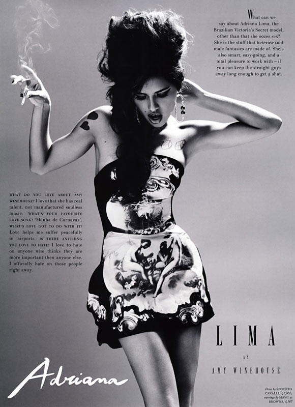 The LOVE Magazine spring/summer 2009 - Adriana Lima plays Amy Winehouse