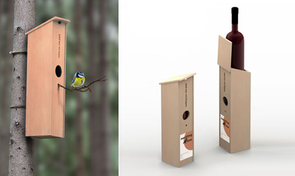 Igor Solovyov - Nestling nesting box wine bottle packaging uccelli casa vino confezione