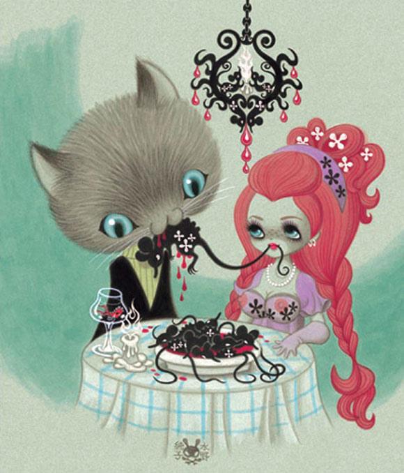 junko mizuno flare kawaii cute cat dinner