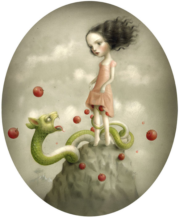 Nicoletta Ceccoli - Georgina and the Dragon - dragon - drago - mele - apple - girl - ragazza - kawaii - romantic