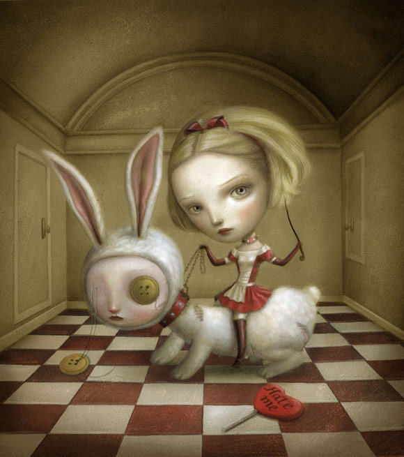 nicoletta ceccoli - lovely - alice - wonderland - kawaii - cute - rabbit - lolita - gothic - red