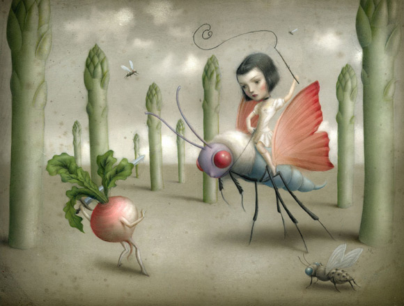 Nicoletta Ceccoli - The Battle - kawaii - butterfly - farfalla - rapa - turip - battle - lotta - battaglia - ragazza - girl