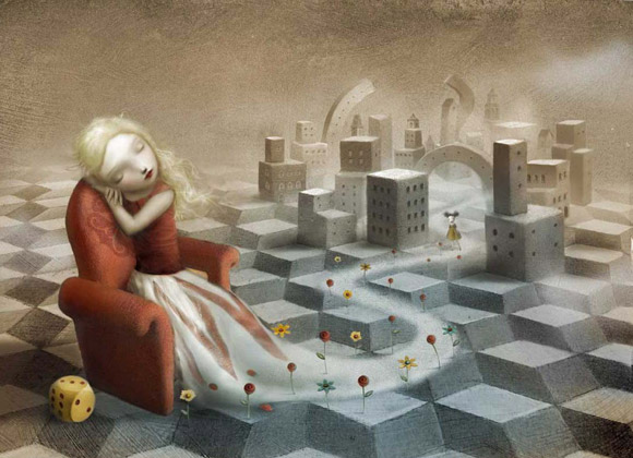 Nicoletta Ceccoli - The Girl in the Castle inside the Museum - dream - princess - kawaii - principessa - sogno - castello - romantic
