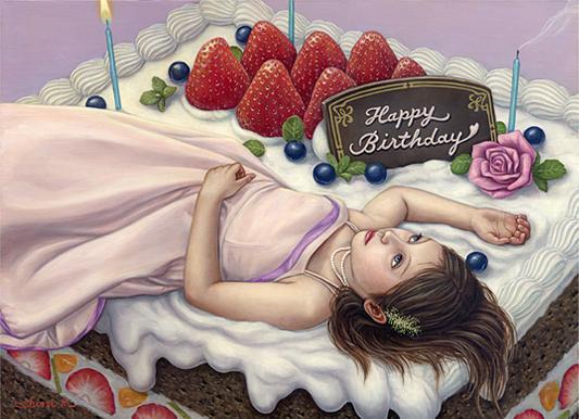 Shiori Matsumoto - Birthday, 2007, 33.3×24.0cm, Oil on canvas