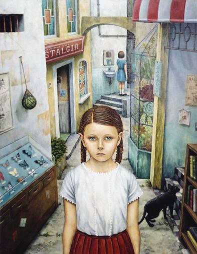Shiori Matsumoto - Lost Children West town, 2002, 54.0×43.0cm, Acrylic and Oil on wood