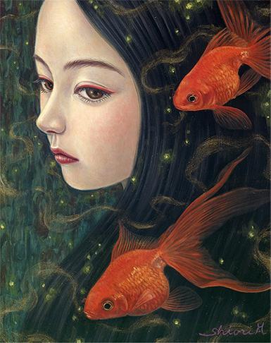Shiori Matsumoto - Goldfish, 2006. 18.0×14.0cm, Oil on canvas