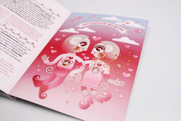 kawaii - natalie birkle - schlaraffenland - illustration - vector - vettoriale - cs3 - cute - red - pink - rosso - rosa - dancing - ballo