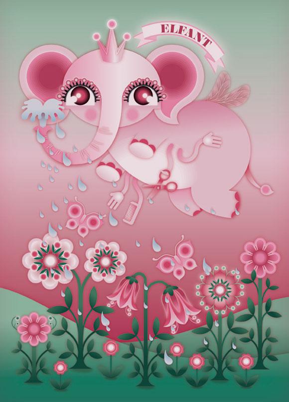 kawaii - natalie birkle - schlaraffenland - illustration - vector - vettoriale - cs3 - cute - red - pink - rosso - rosa - elefant - elefante - animal - animale