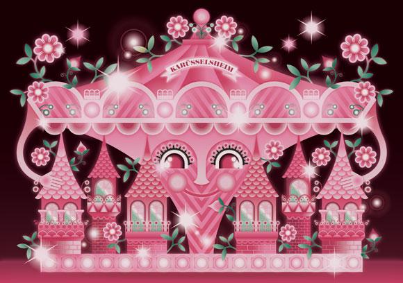 kawaii - natalie birkle - schlaraffenland - illustration - vector - vettoriale - cs3 - cute - red - pink - rosso - rosa - giostra -carousel