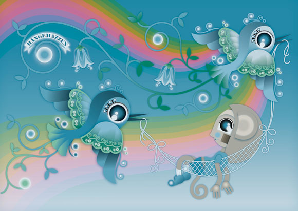 kawaii - natalie birkle - schlaraffenland - illustration - vector - vettoriale - cs3 - cute - bird - uccelli - azzurro - blue