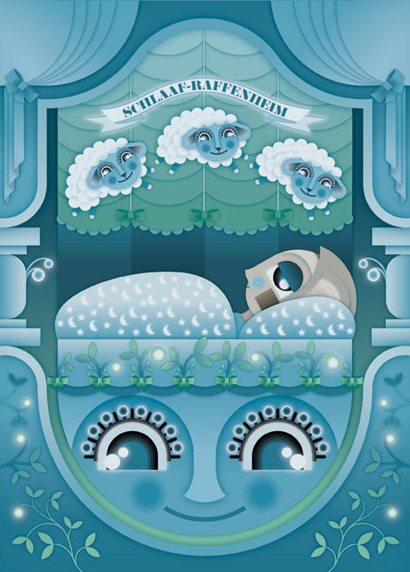 kawaii - natalie birkle - schlaraffenland - illustration - vector - vettoriale - cs3 - cute - blue - azzurro - sleeping - dormire - sheep - pecora - sleep