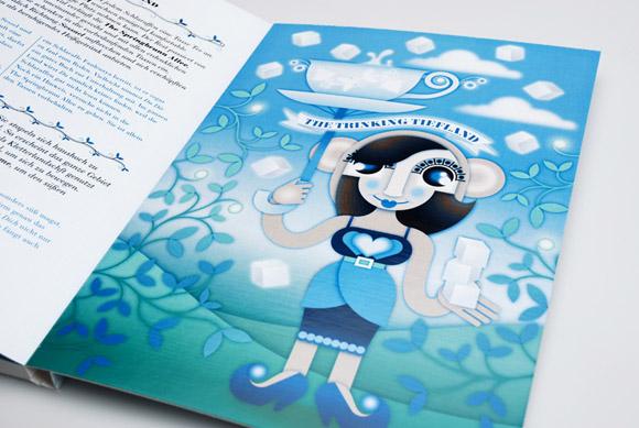 kawaii - natalie birkle - schlaraffenland - illustration - vector - vettoriale - cs3 - cute - sugar - tea - zucchero - the - blue - azzurro