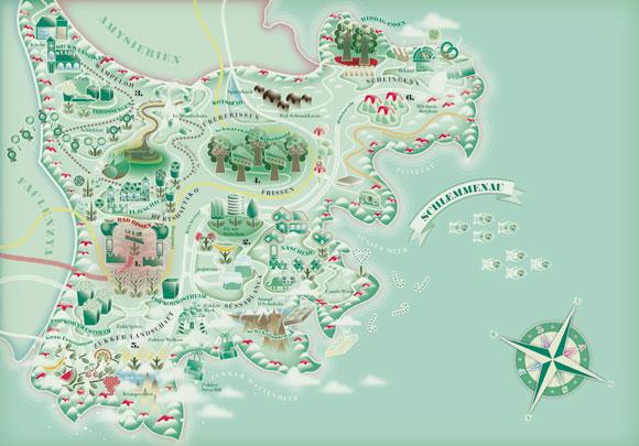 kawaii - natalie birkle - schlaraffenland - illustration - vector - vettoriale - cs3 - cute - verde - green - map - mappa