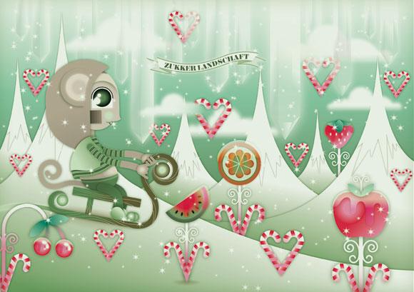 kawaii - natalie birkle - schlaraffenland - illustration - vector - vettoriale - cs3 - cute - verde - green - snow- neve