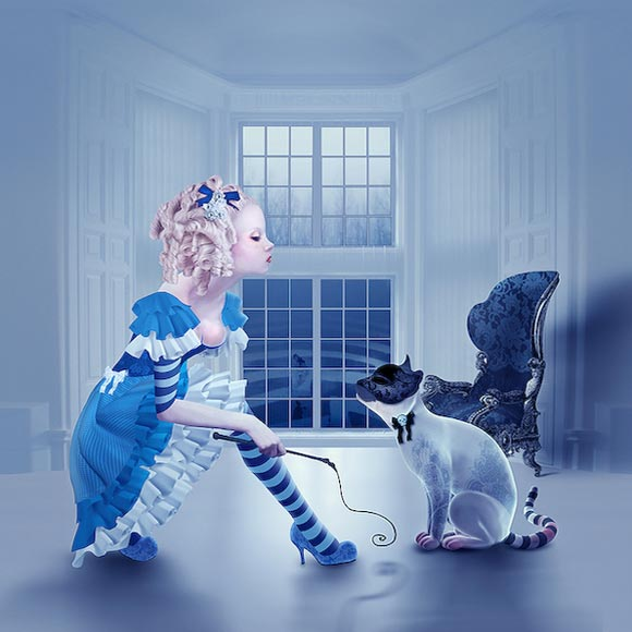 Natalie Shau, painting, dream, Alice, Cheshire Cat, wonderland