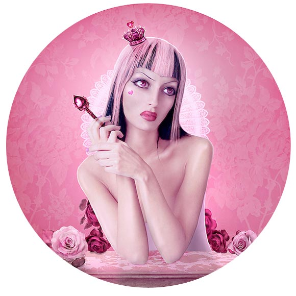 Natalie Shau, painting, dream, Monica Naranjo, Queen of Hearts, pink, wonderland, doll