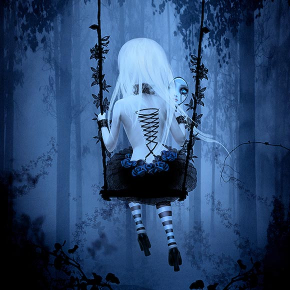 Natalie Shau, painting, dream, Kerli, Love is dead, CD, back, cover, dark, doll