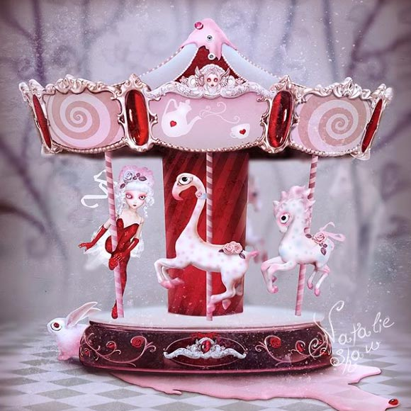 Natalie Shau, painting, dream, carousel, pink, Birthday