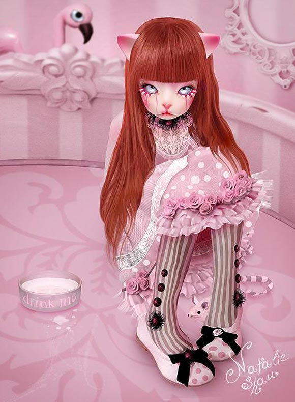 Natalie Shau, painting, dream, Alice, cat, wonderland