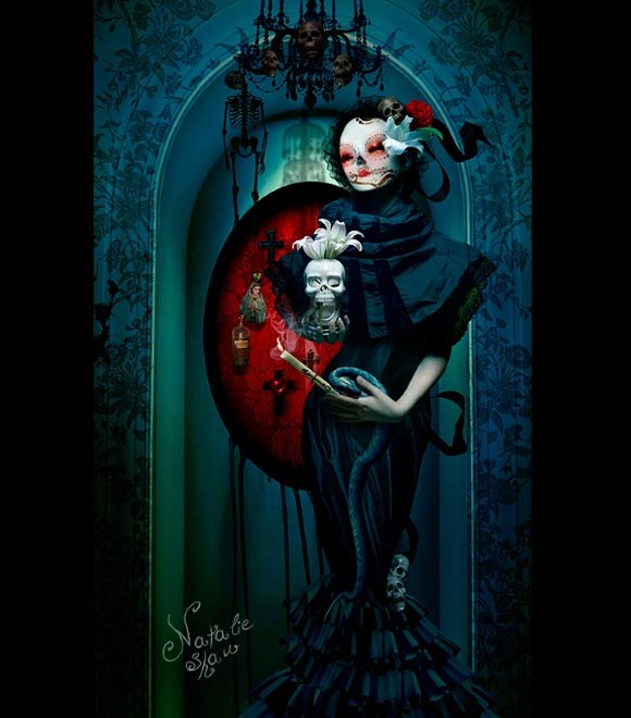 Natalie Shau, painting, dream, Black Celebration, black, skull, red