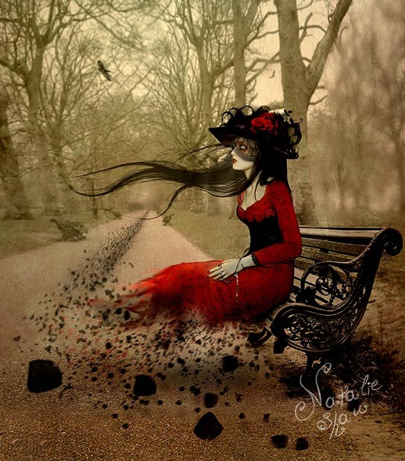 Natalie Shau, painting, dream, Carmine, fall, leaf, leaves