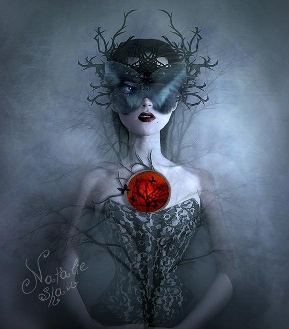 Natalie Shau, painting, dream, Released Time, dark, butterfly