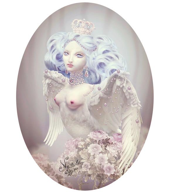 Natalie Shau, painting, dream, Alkonost, white, wings, rose