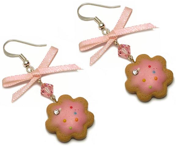 Annapaola Rapacciuolo - Le Chou Chou - bijou - kawaii - cute - jewellery - gioielli - fimo - food - sweet - patisserie - biscuits - biscotti - earring - orecchini - pink - rosa