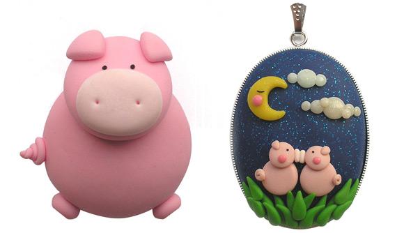 Annapaola Rapacciuolo - Le Chou Chou - bijou - kawaii - cute - jewellery - gioielli - fimo - pig - maiale - pink - rosa - sweet