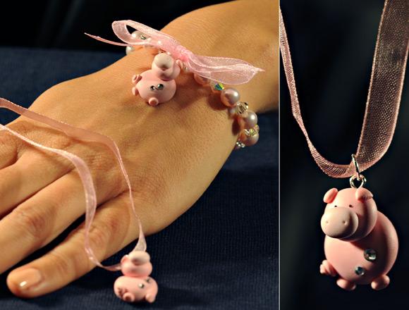 Annapaola Rapacciuolo - Le Chou Chou - bijou - kawaii - cute - jewellery - gioielli - fimo - sweet - pig - pink - rosa - maiale - necklace - collana - bracelet