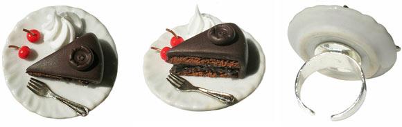 Annapaola Rapacciuolo - Le Chou Chou - bijou - kawaii - cute - jewellery - gioielli - fimo - food - sweet - cake - torta - sacher - chocolate - cioccolato - ring - anello