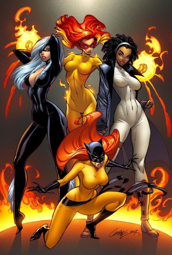 Marvel Divas #1 Cover - Firestar, Black Cat, Hellcat, Photon