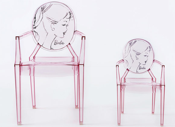 Barbie 50th anniversary - Kartell - Louis Ghost and Lou Lou Ghost chairs / sedie