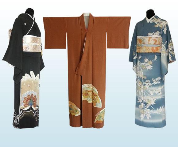 kurotomesode kimono, irotomesode kimono, homongi kimono