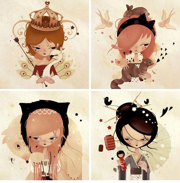 CandyBird, Mon Renard Blanc, Mon Petit Furet, La Petite Magicienne, Ma Kokeshi Rouge