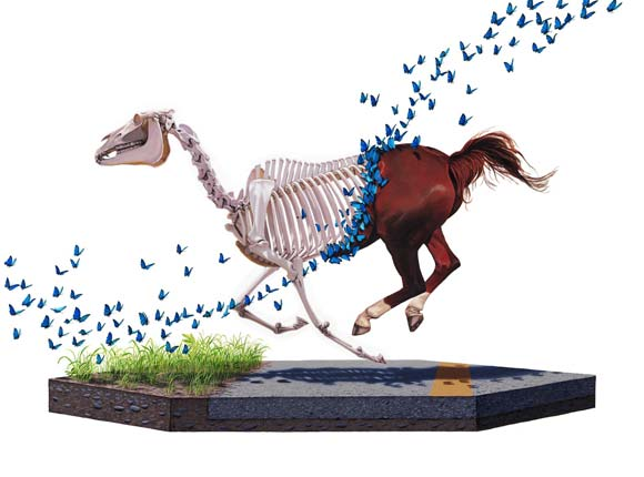 Josh Keyes - Shedding, 2009