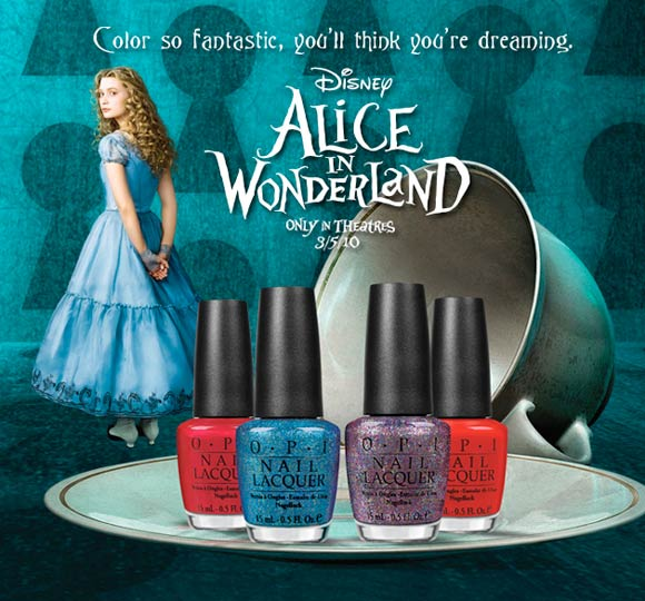 OPI nails polish / smalto per unghie for Alice in Wonderland - Thanks So Muchness!, Absolutely Alice, Mad as a Hatter and Off with Her Red!