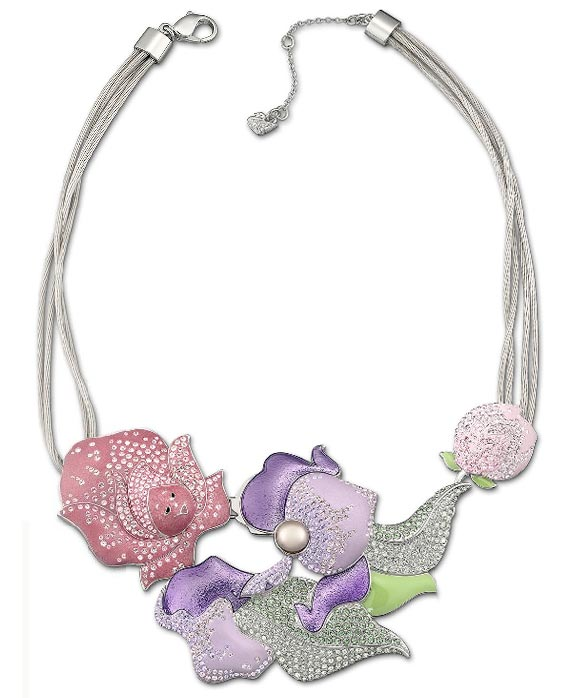 Swarovski - Flower Garden Necklace / collana con fiori lilla for Alice in Wonderland